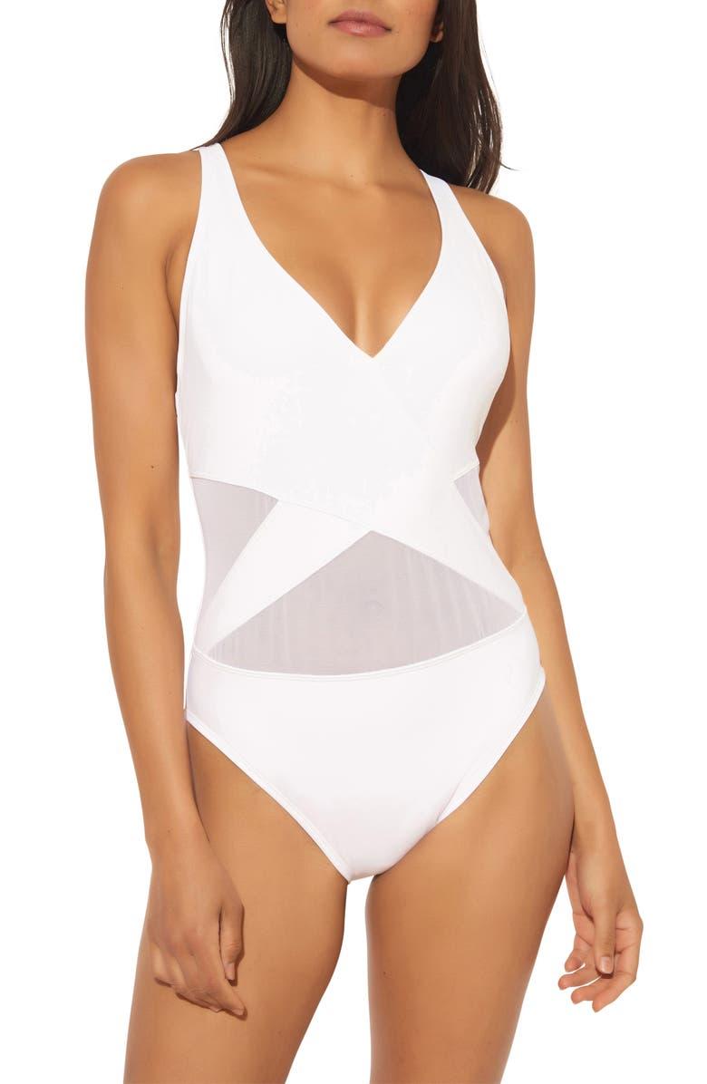 BLEU BY ROD BEATTIE BLEU by Rob Beattie Mesh Inset One-Piece Swimsuit, Main, color, WHITE