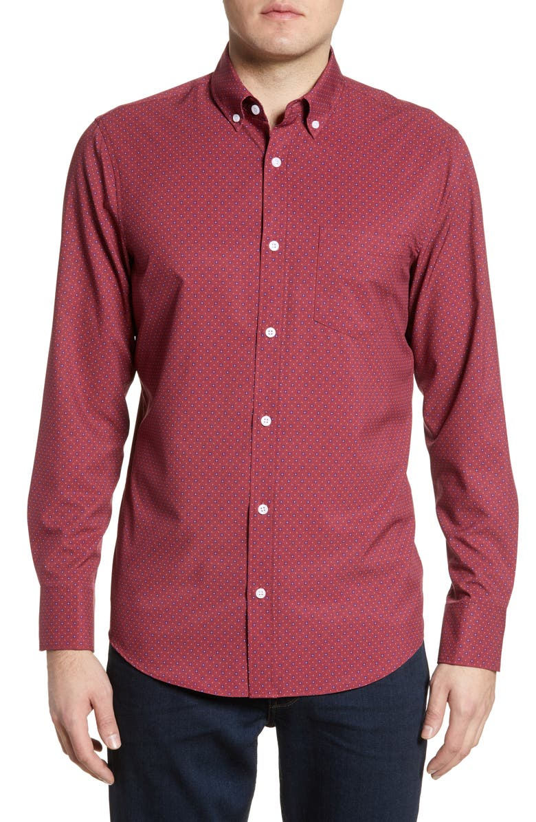 NORDSTROM MEN'S SHOP Nordstrom Mens Shop Tech-Smart Regular Fit Button-Down Shirt, Main, color, RED NEAT FLORAL