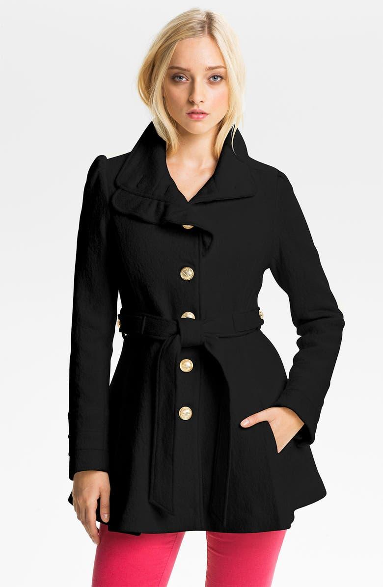 BEBE Ruffle Trim Belted Coat, Main, color, 001