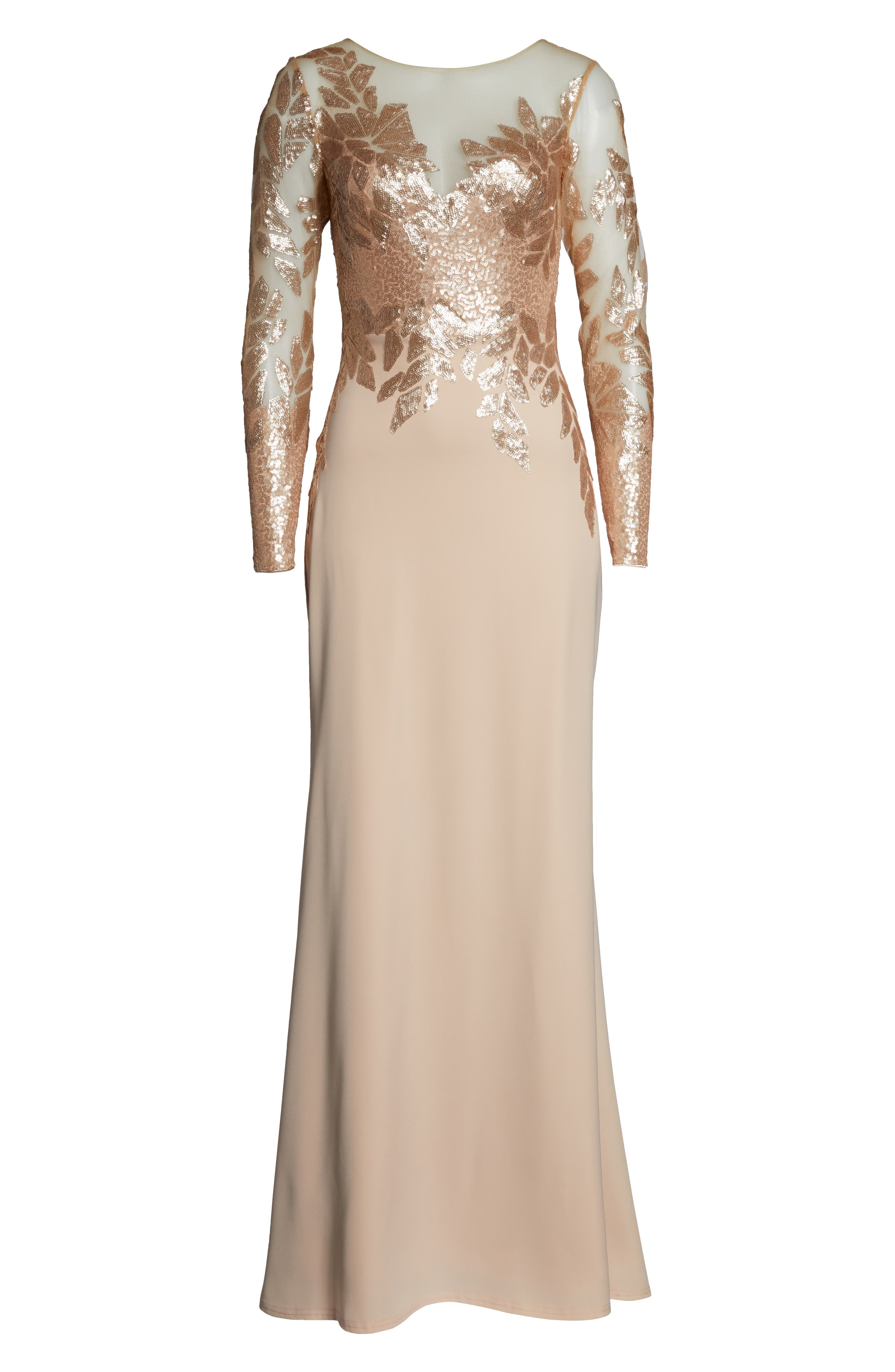 ,                             Sequin Embellished Gown,                             Alternate thumbnail 7, color,                             CHAMPAGNE