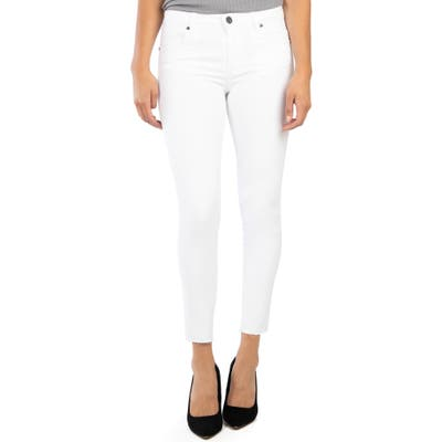Kut From The Kloth Donna High Waist Raw Hem Ankle Skinny Jeans, White