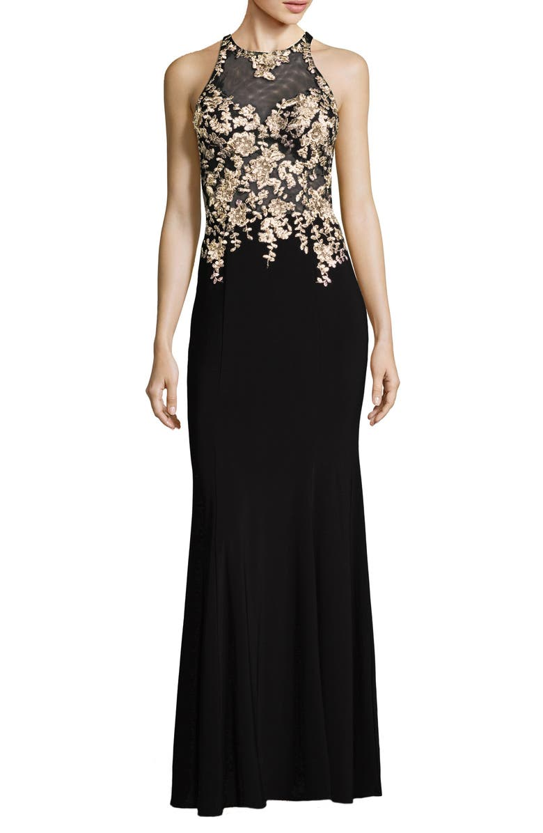 XSCAPE Floral Embroidered Gown, Main, color, 011