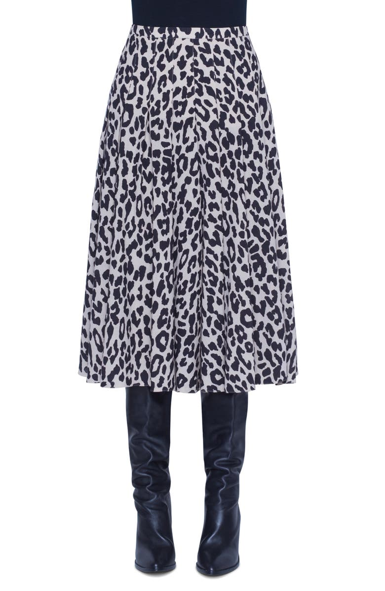 AKRIS PUNTO Leopard Print Pleated Wool Skirt, Main, color, OFFWHITE/ BLACK