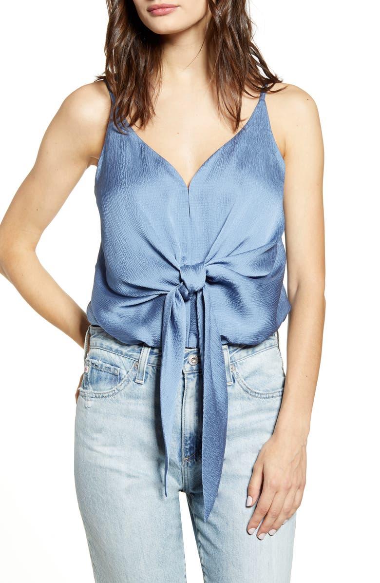 J.O.A. Tie Front Crepe Bodysuit, Main, color, DUSTY BLUE