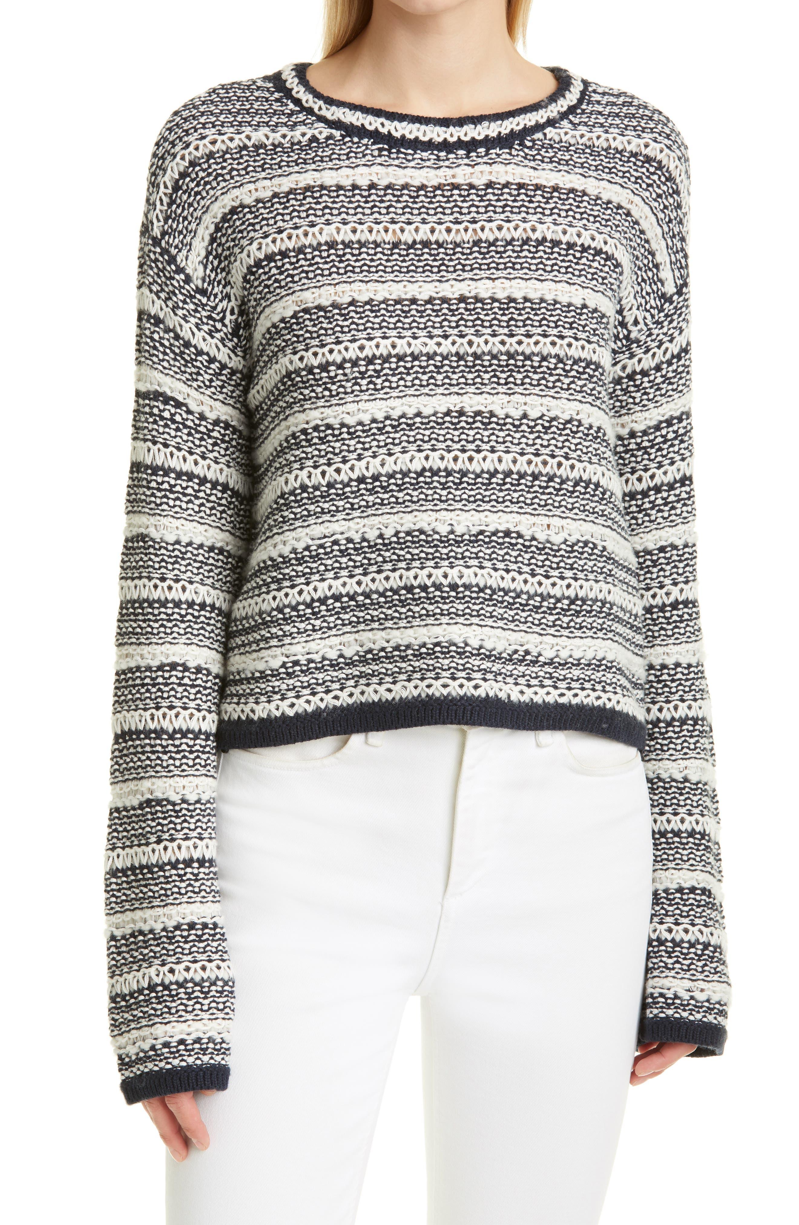 Shell Stitch Stripe Crewneck Sweater