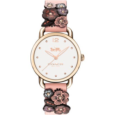 Coach Delancey Floral Leather Strap Watch, 2m