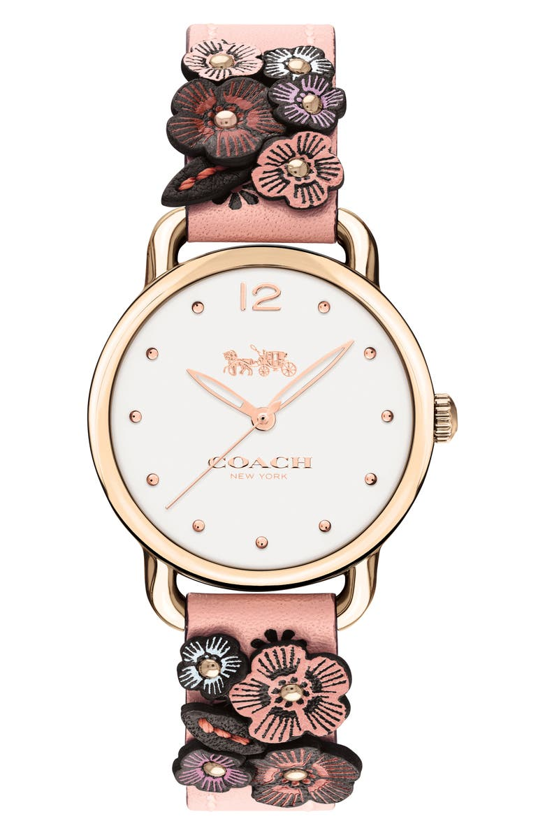 COACH Delancey Floral Leather Strap Watch, 28mm, Main, color, PINK/ WHITE/ ROSE GOLD