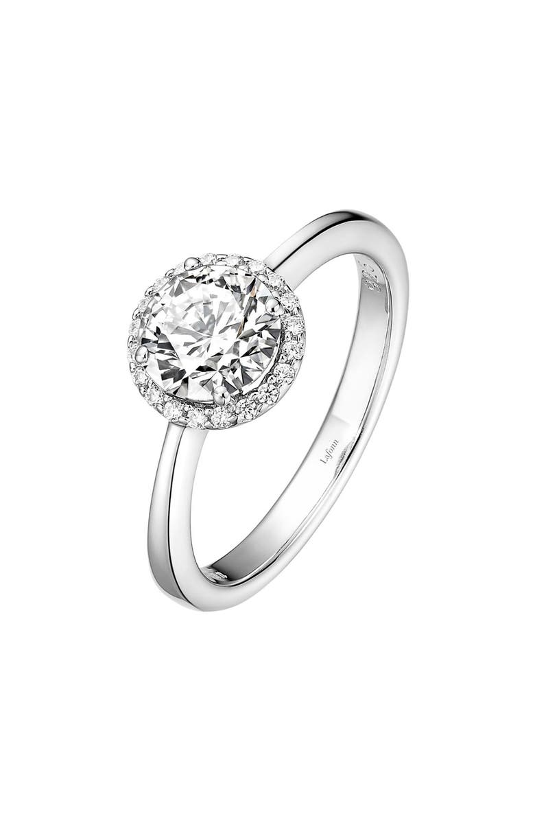 LAFONN Birthstone Halo Ring, Main, color, APRIL DIAMOND / SILVER