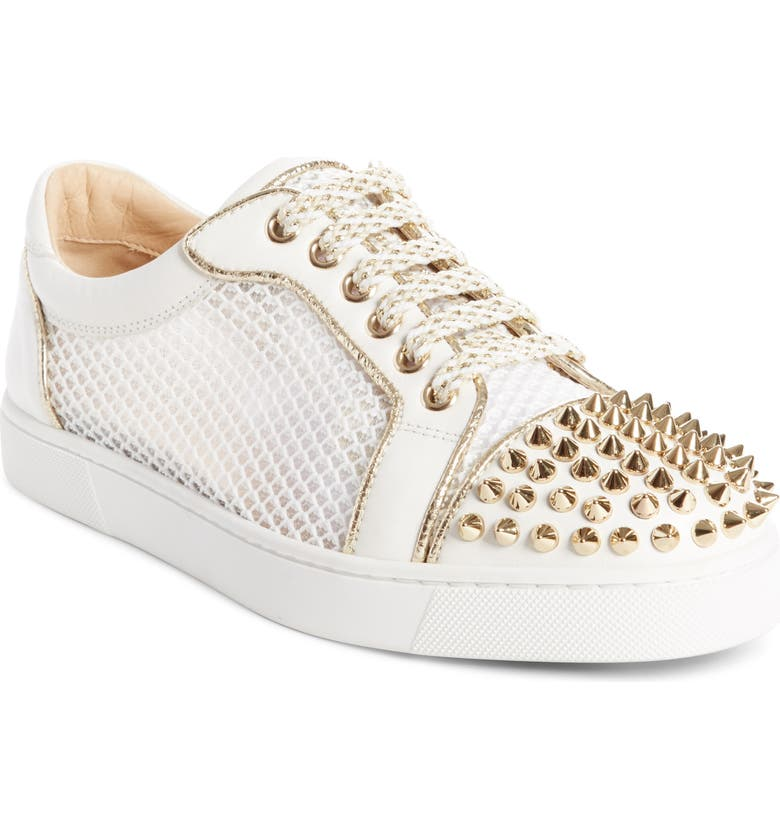 CHRISTIAN LOUBOUTIN Vieira Spiked Low Top Sneaker, Main, color, LATTE/ LIGHT GOLD