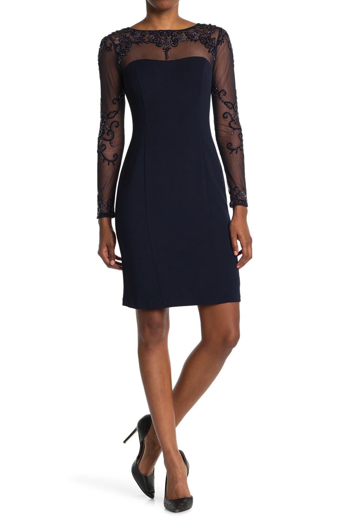 Image of Marina Long Sleeve Beaded Shift Dress