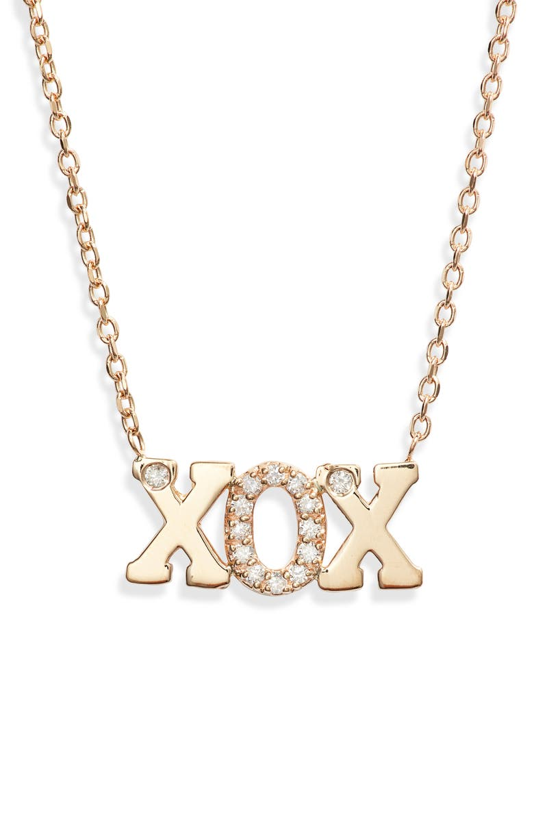 ANZIE XOX Diamond Pendant Necklace, Main, color, GOLD/ DIAMOND