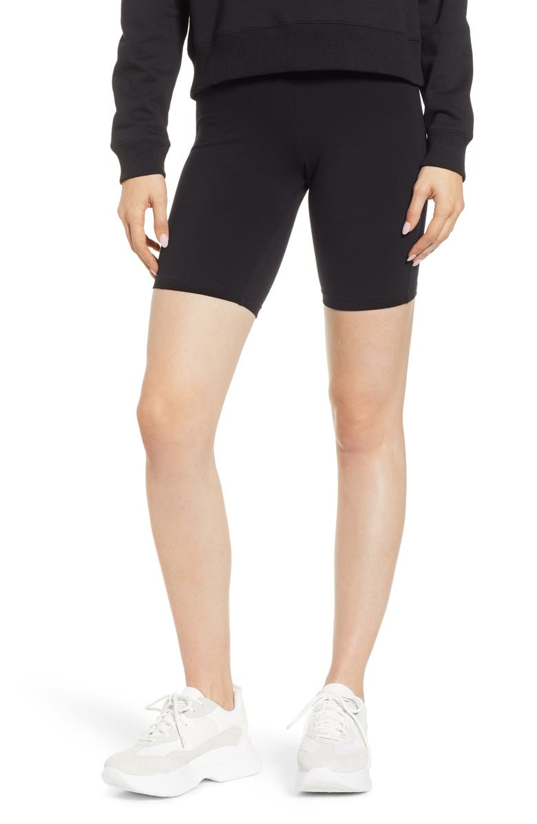 HUE High Waist Cotton Blend Bike Shorts, Main, color, BLACK