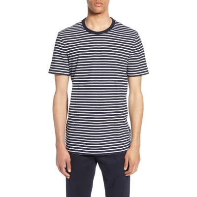 Boss Tiburt Regular Fit Stripe Linen Blend T-Shirt, Blue