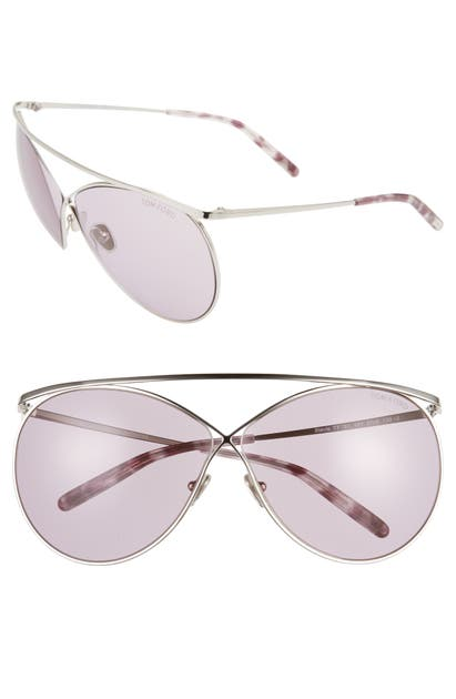 Tom Ford Stevie 59Mm Polarized Aviator Sunglasses In Shiny Palladium/ Grad Burgundy