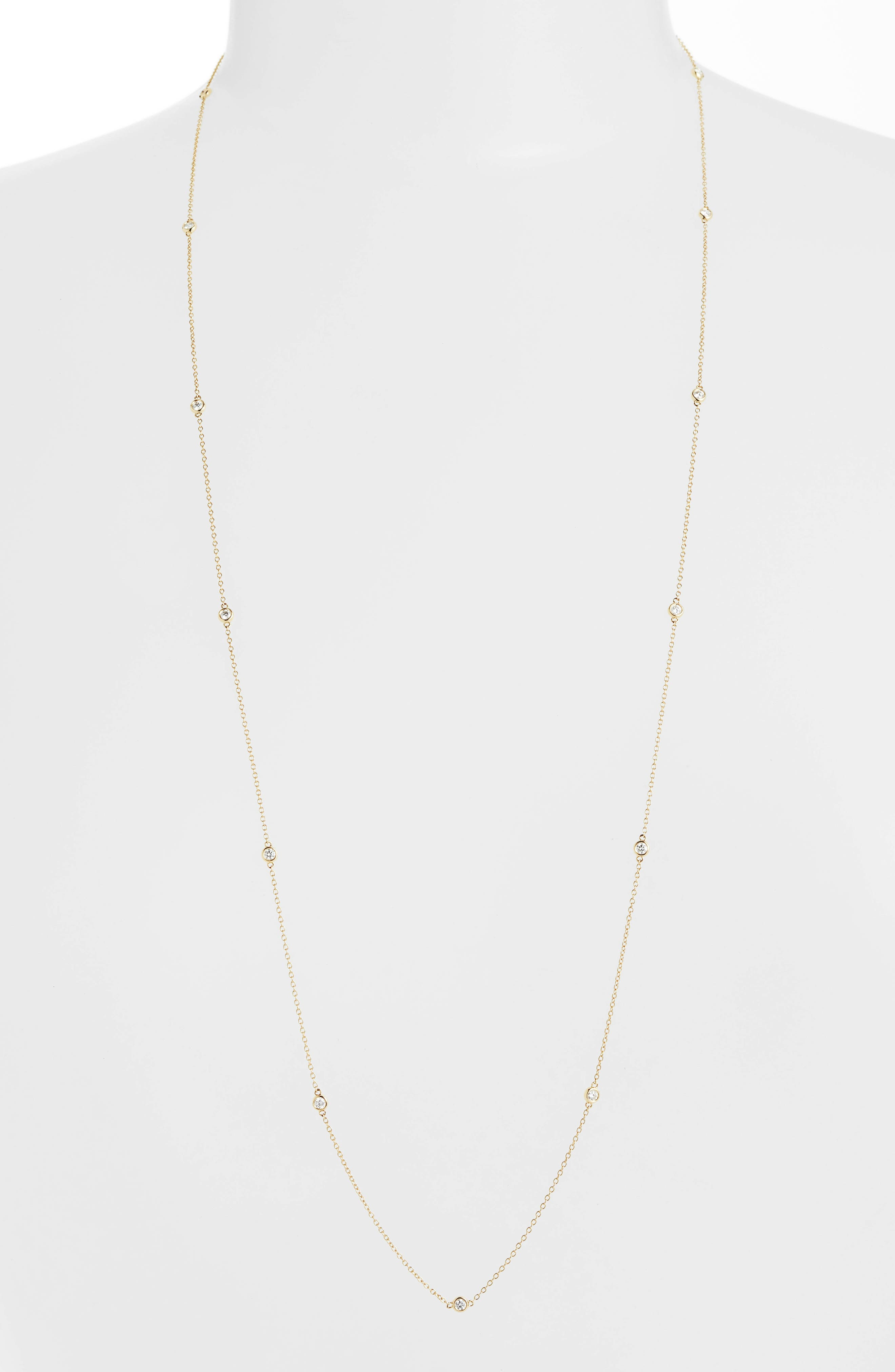 Bezel-set beauties-13 in all-create shining stations along a handcrafted chain that will elevate any outfit. Style Name: Bony Levy Diamonds By The Yard Necklace (Nordstrom Exclusive). Style Number: 5611094 1. Available in stores.