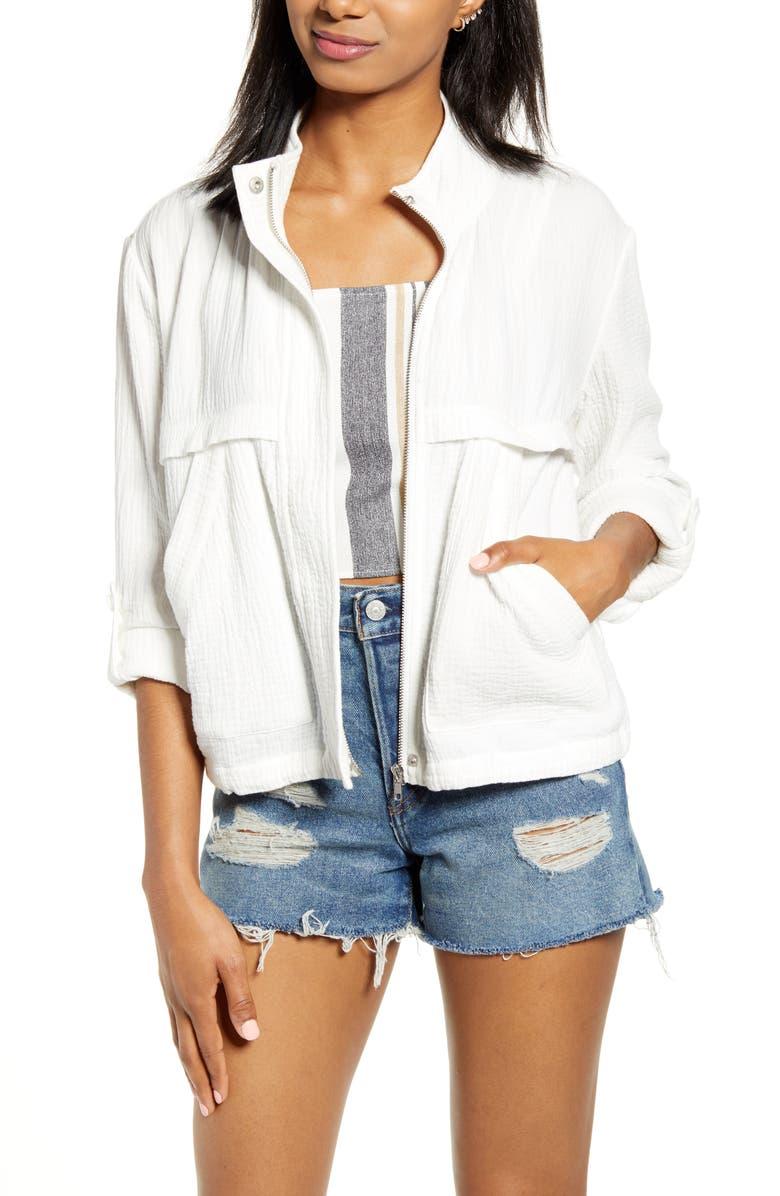 BB DAKOTA Roll Sleeve Cotton Jacket, Main, color, 100