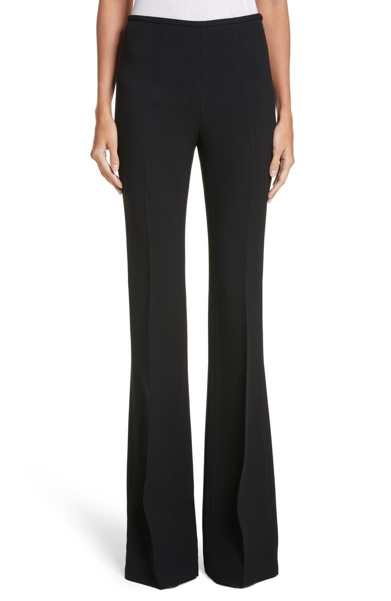 MICHAEL KORS Crepe Sable Flare Pants, Main, color, BLACK