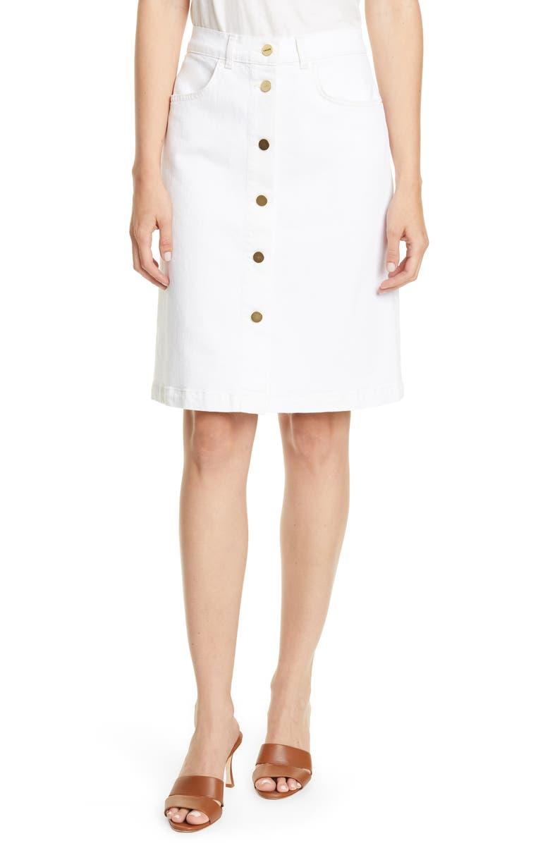 FRAME Vintage Button Front Denim Skirt, Main, color, NATURAL