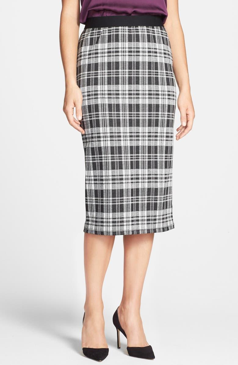 BOBEAU Plaid Midi Skirt, Main, color, 001