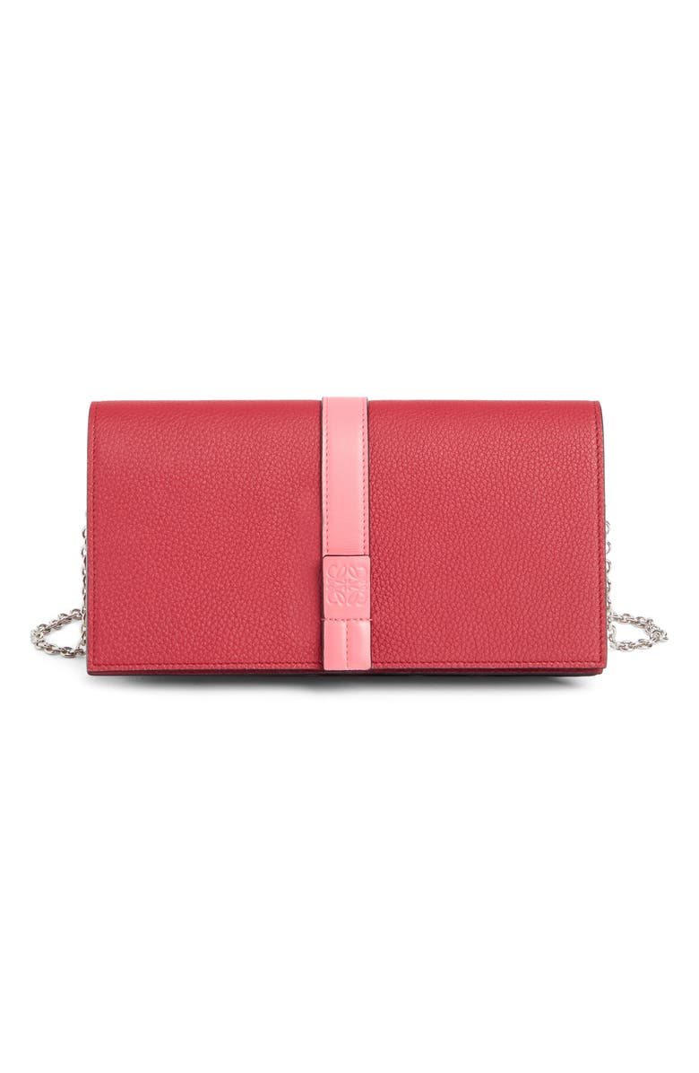 LOEWE Leather Wallet on a Chain, Main, color, WILD ROSE/ RASPBERRY