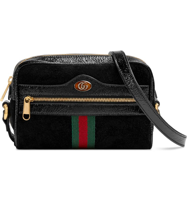 GUCCI Ophidia Small Suede & Leather Crossbody Bag, Main, color, NERO/ NERO/ VERT RED VERT