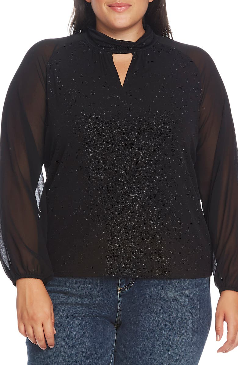 VINCE CAMUTO Sparkle Jersey Keyhole Blouse, Main, color, RICH BLACK