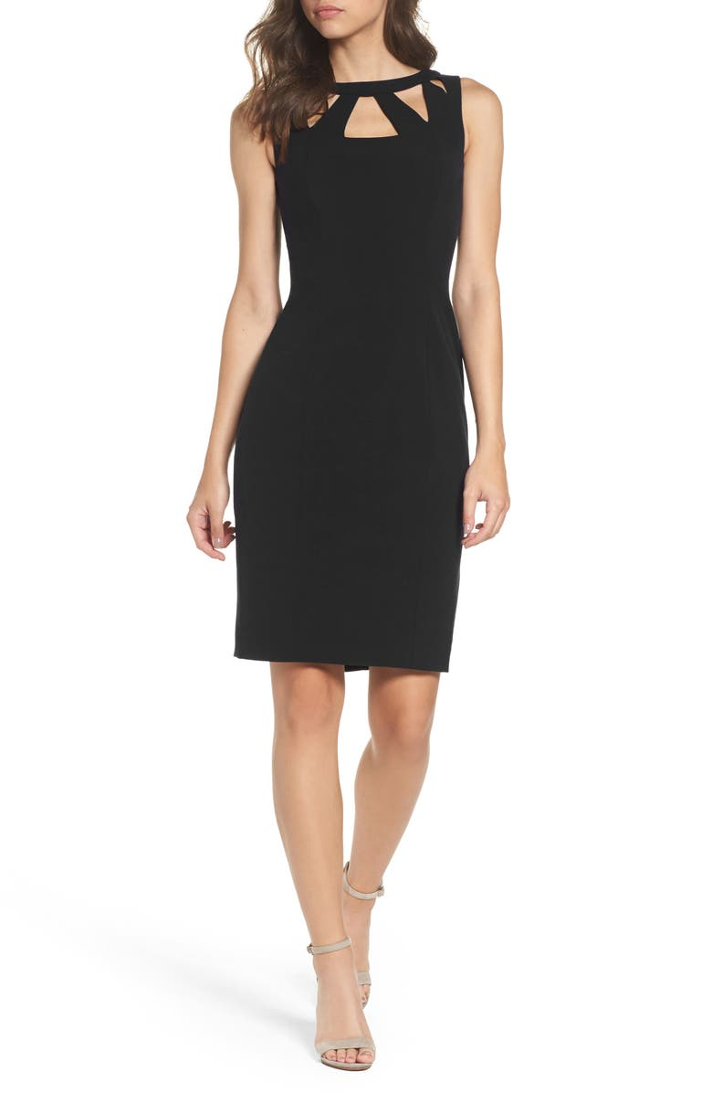 ELIZA J Cutout Detail Sheath Dress, Main, color, 001