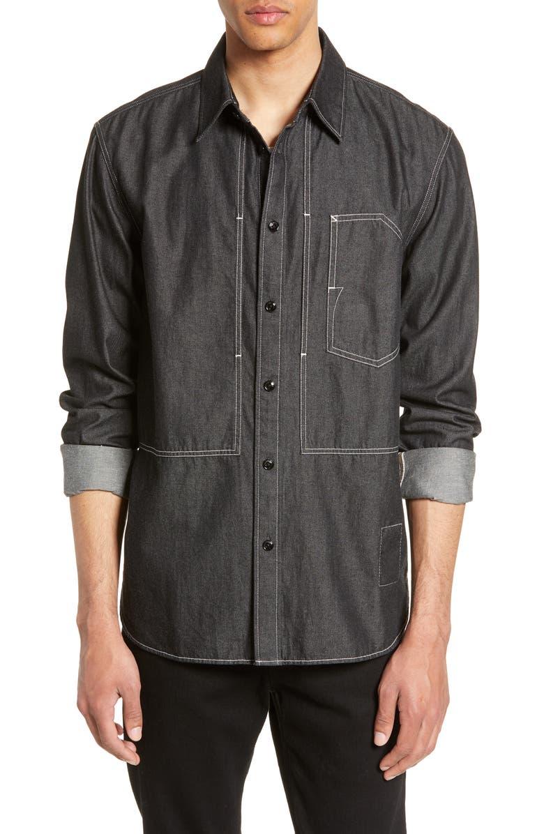 RAG & BONE Slim Fit Denim Chore Shirt, Main, color, BLK