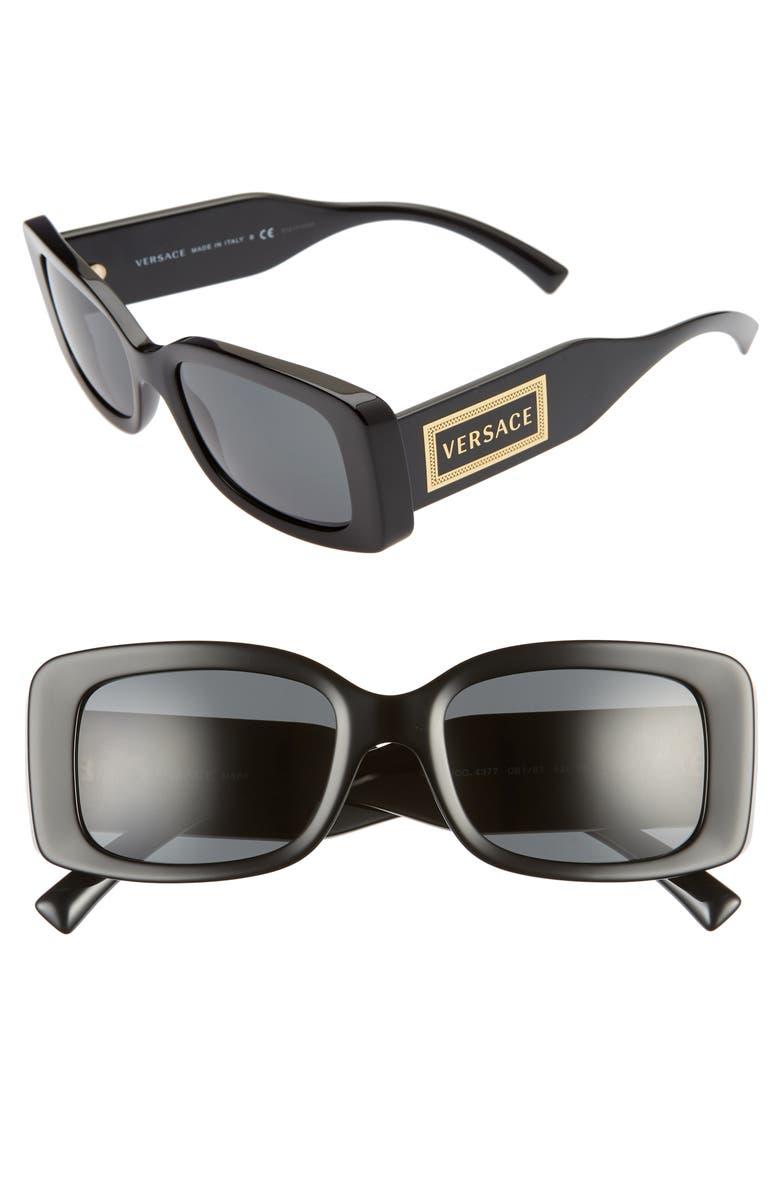 VERSACE 52mm Sunglasses, Main, color, BLACK/ GREY SOLID