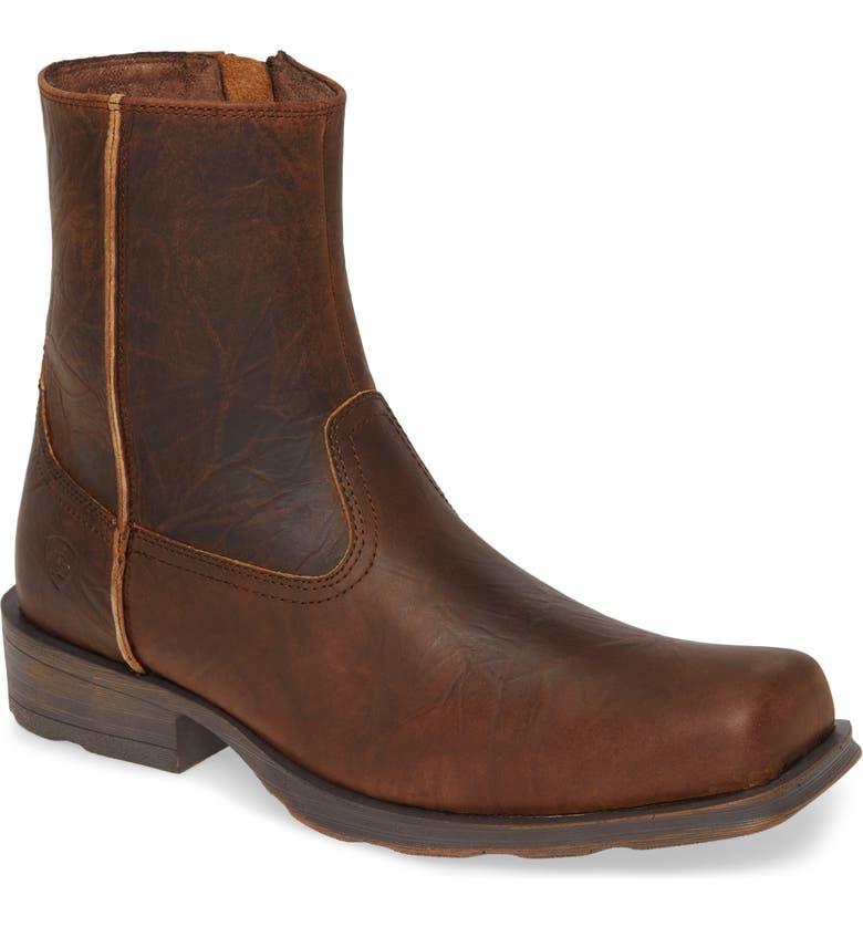 ARIAT Western Rambler Zip Boot, Main, color, BAR TOP BROWN