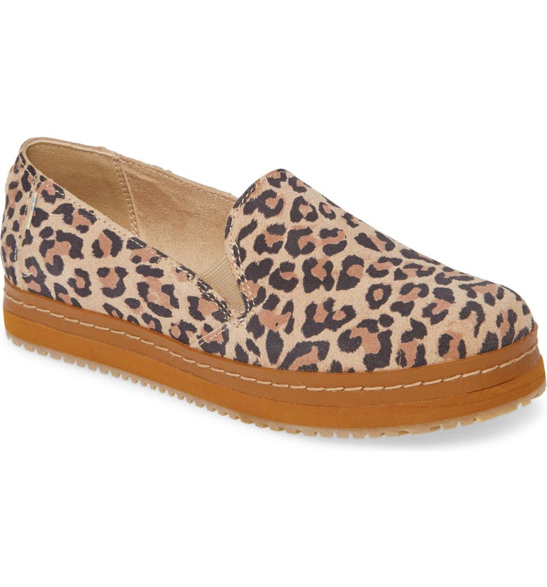 TOMS Palma Leather Slip-On Sneaker, Main, color, DESERT TAN LEOPARD SUEDE