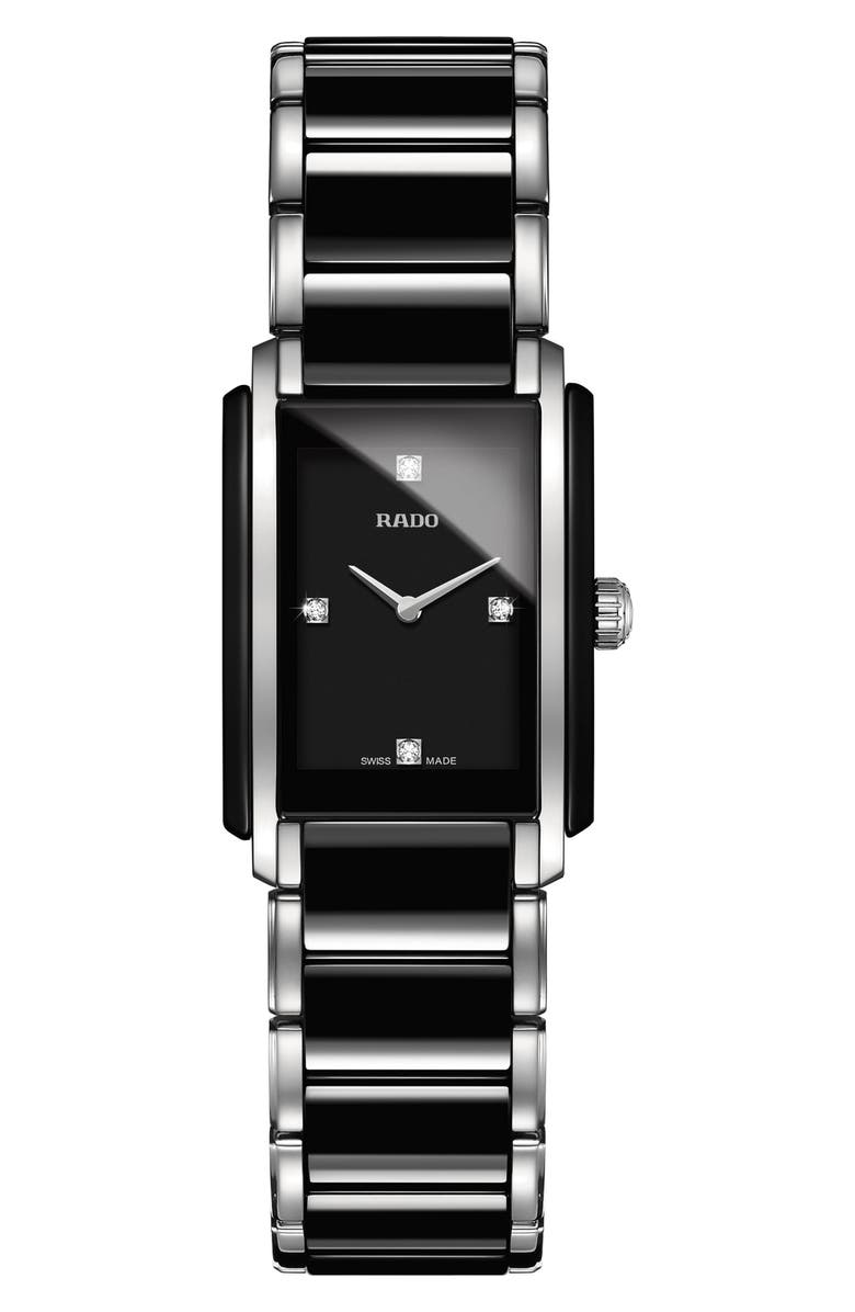 RADO Integral Diamonds Bracelet Watch, 22mm x 33mm, Main, color, SILVER/ BLACK