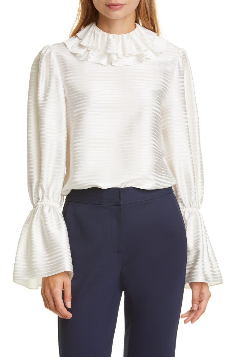 TORY BURCH Ruffle Satin Stripe Blouse, Main, color, NEW IVORY