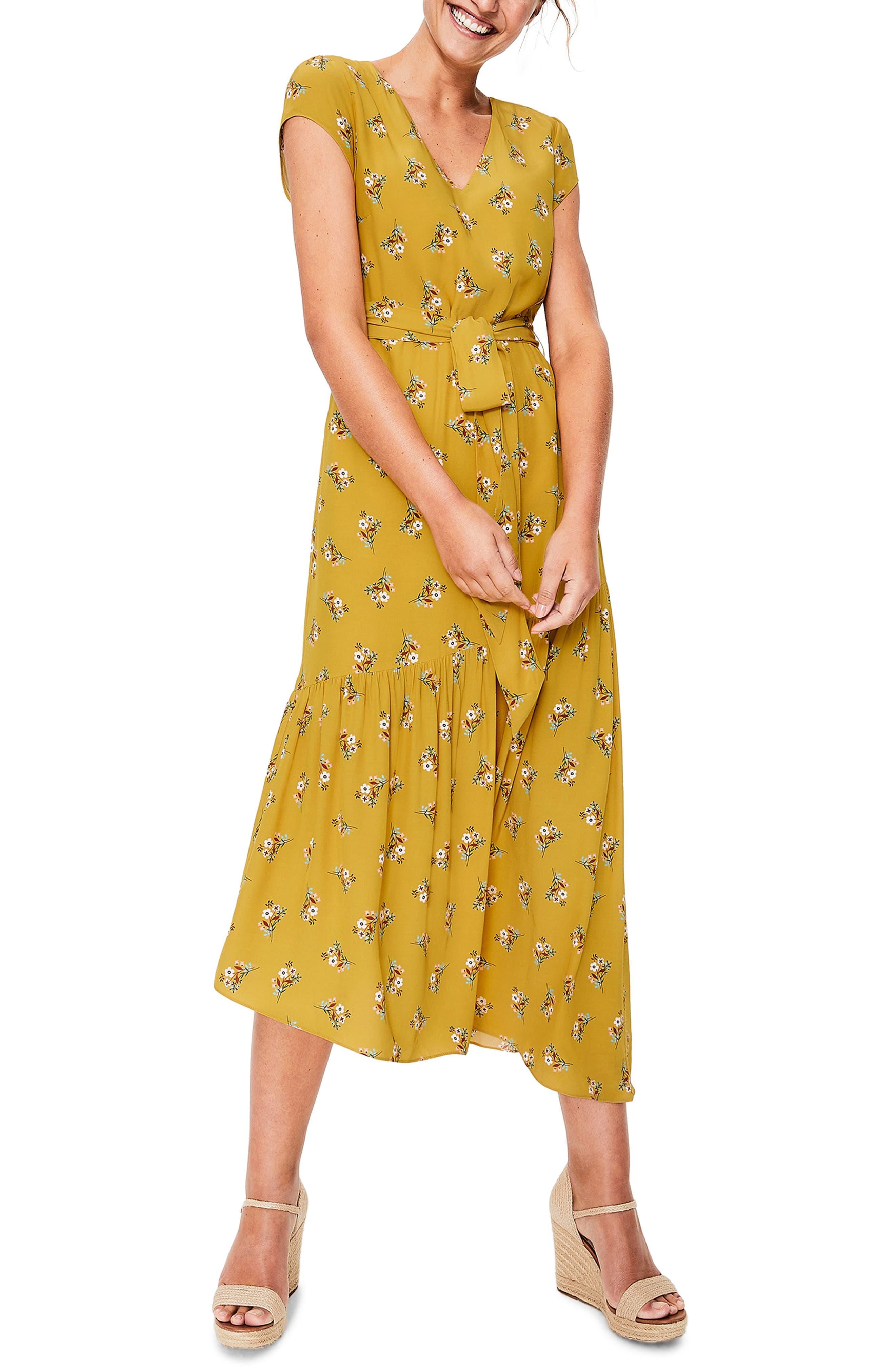 Petite Boden Amy Asymmetrical Midi Dress, Yellow