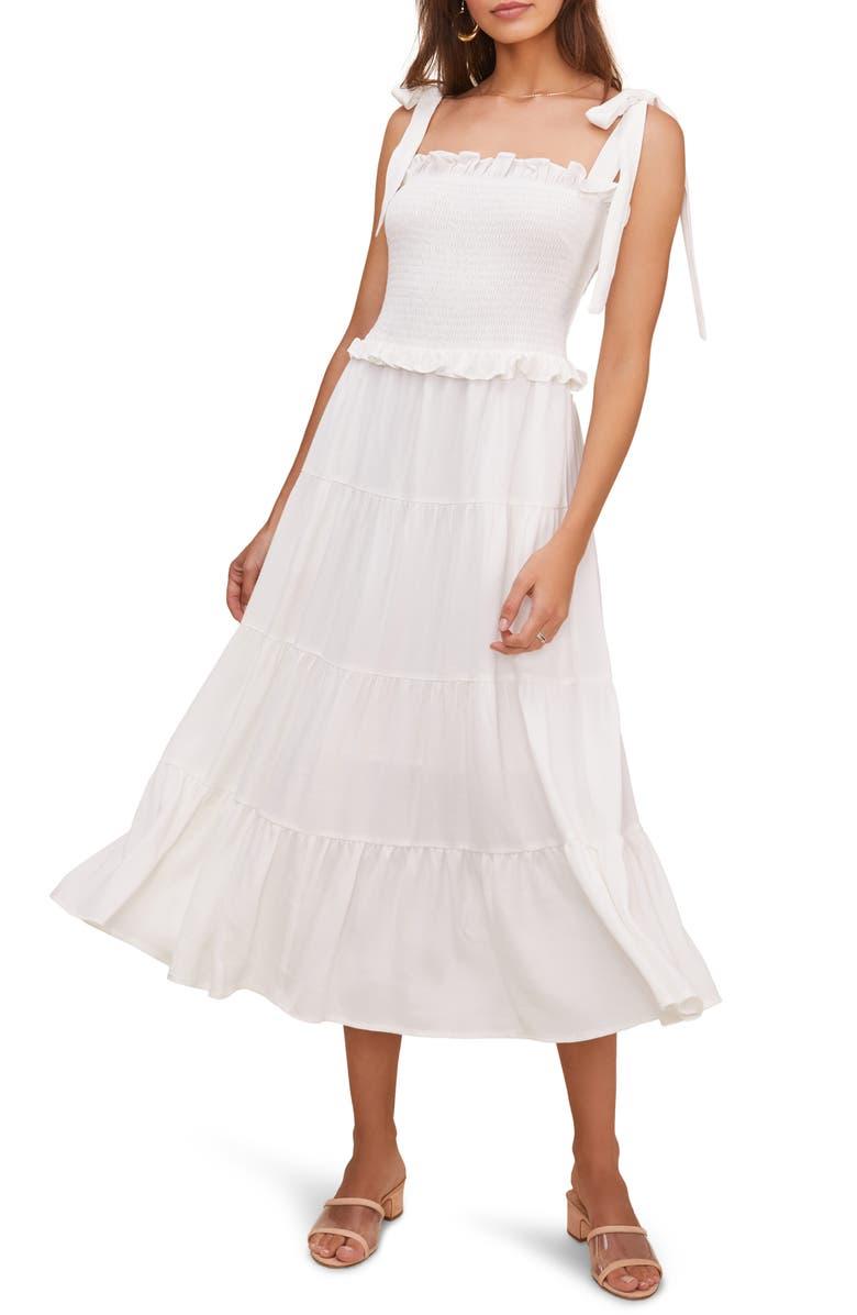 ASTR THE LABEL Promenade Smocked Bodice Midi Dress, Main, color, WHITE