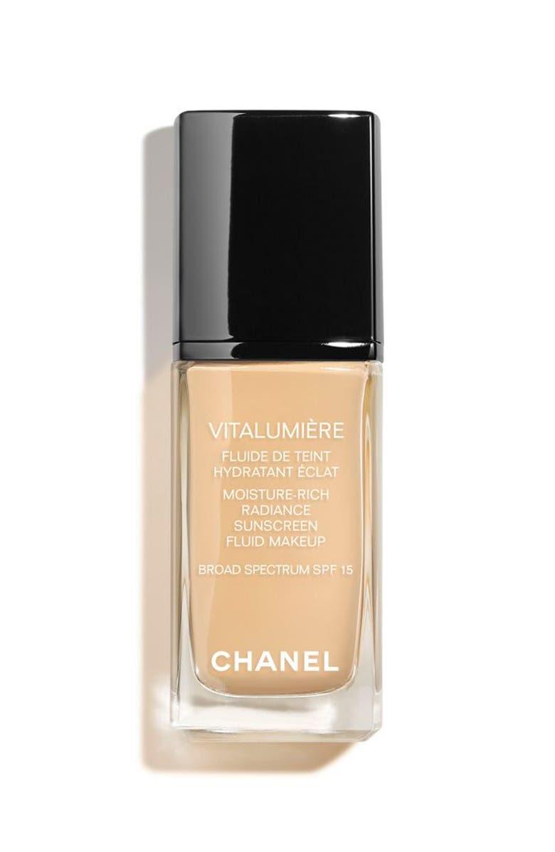 CHANEL VITALUMIÈRE Moisture-Rich Radiance Sunscreen Fluid Makeup Broad Spectrum SPF 15 Foundation, Main, color, 30 CENDRE