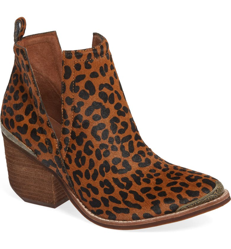 JEFFREY CAMPBELL Cromwell Cutout Western Boot, Main, color, BROWN CHEETAH CALF HAIR