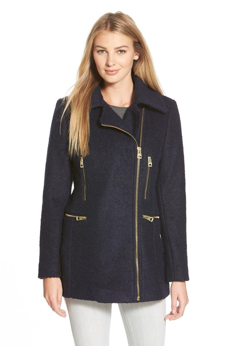 GUESS Bouclé Asymmetrical Zip Coat, Main, color, NAVY