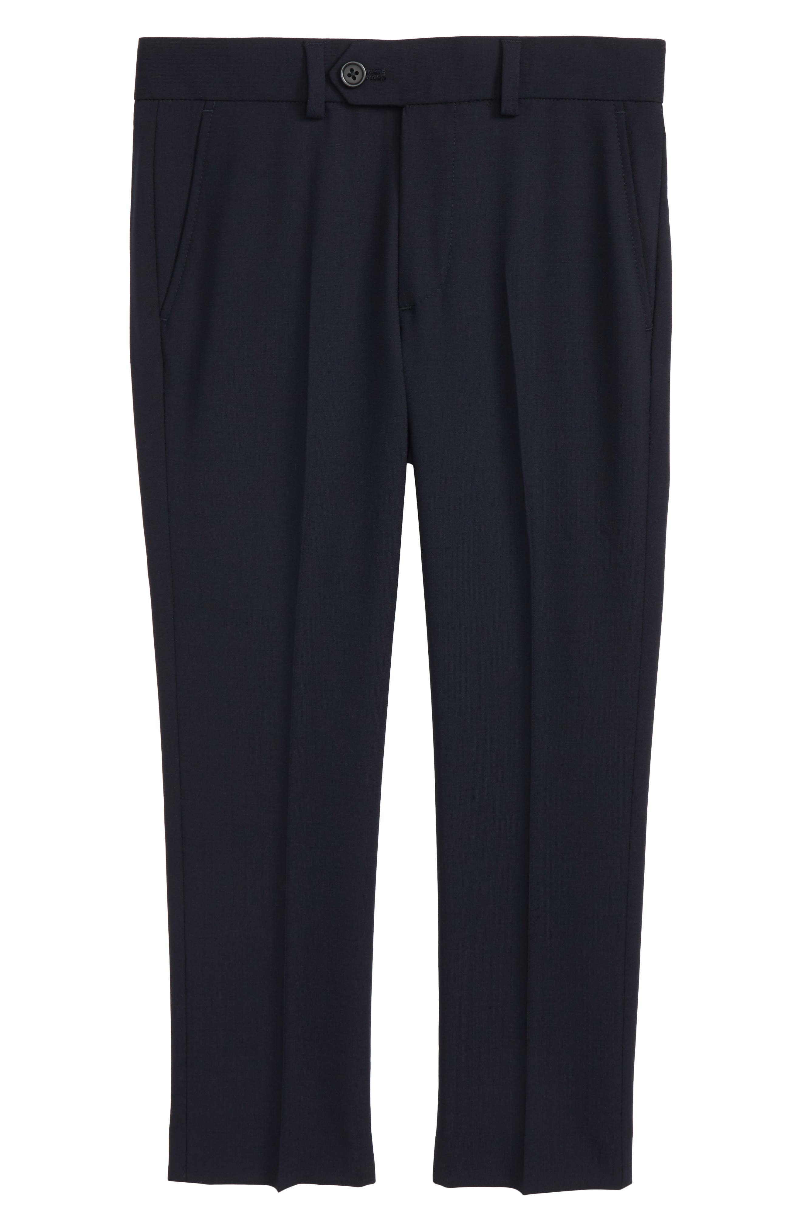 Solid Wool Blend Flat Front Trousers, Main, color, NAVY