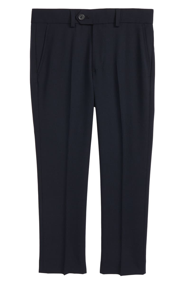 TALLIA Solid Wool Blend Flat Front Trousers, Main, color, NAVY