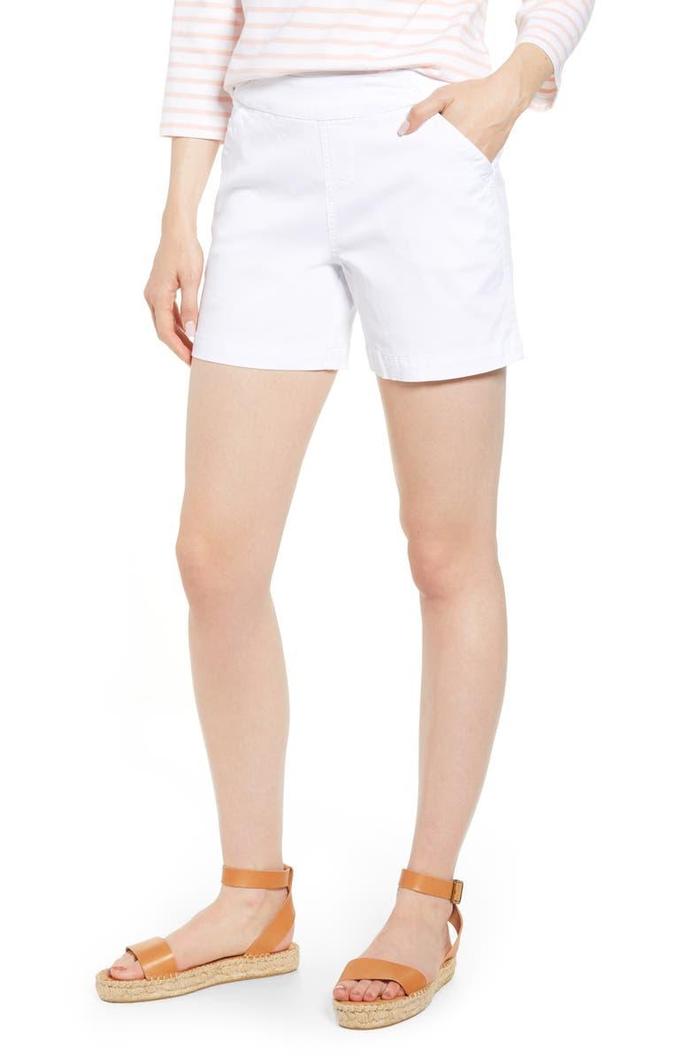 JAG JEANS Gracie Cotton Blend Shorts, Main, color, WHITE