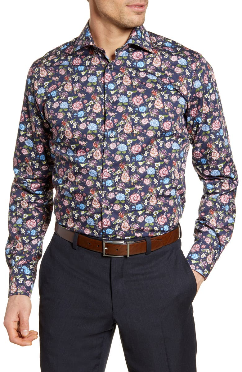 ETON Contemporary Fit Floral Dress Shirt, Main, color, BLUE