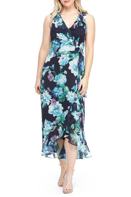 Image of London Times Floral Print Ruffle Hem Chiffon Maxi Dress