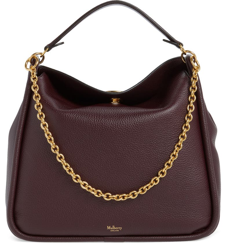 MULBERRY Leighton Leather Hobo, Main, color, OXBLOOD