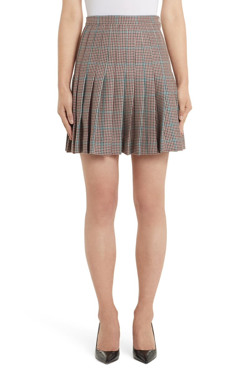 OFF-WHITE Check Pleated Wool Miniskirt, Main, color, ALL OVER