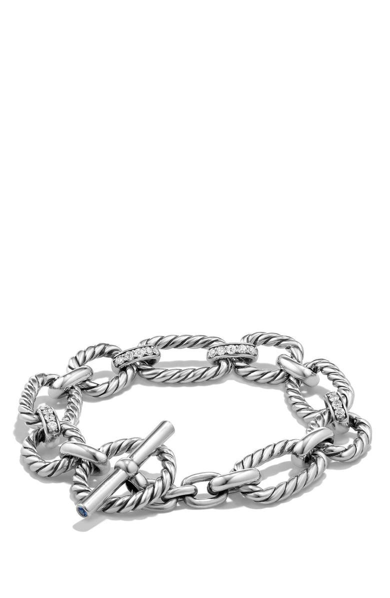 DAVID YURMAN 'Chain' Cushion Link Bracelet with Diamonds, Main, color, SILVER