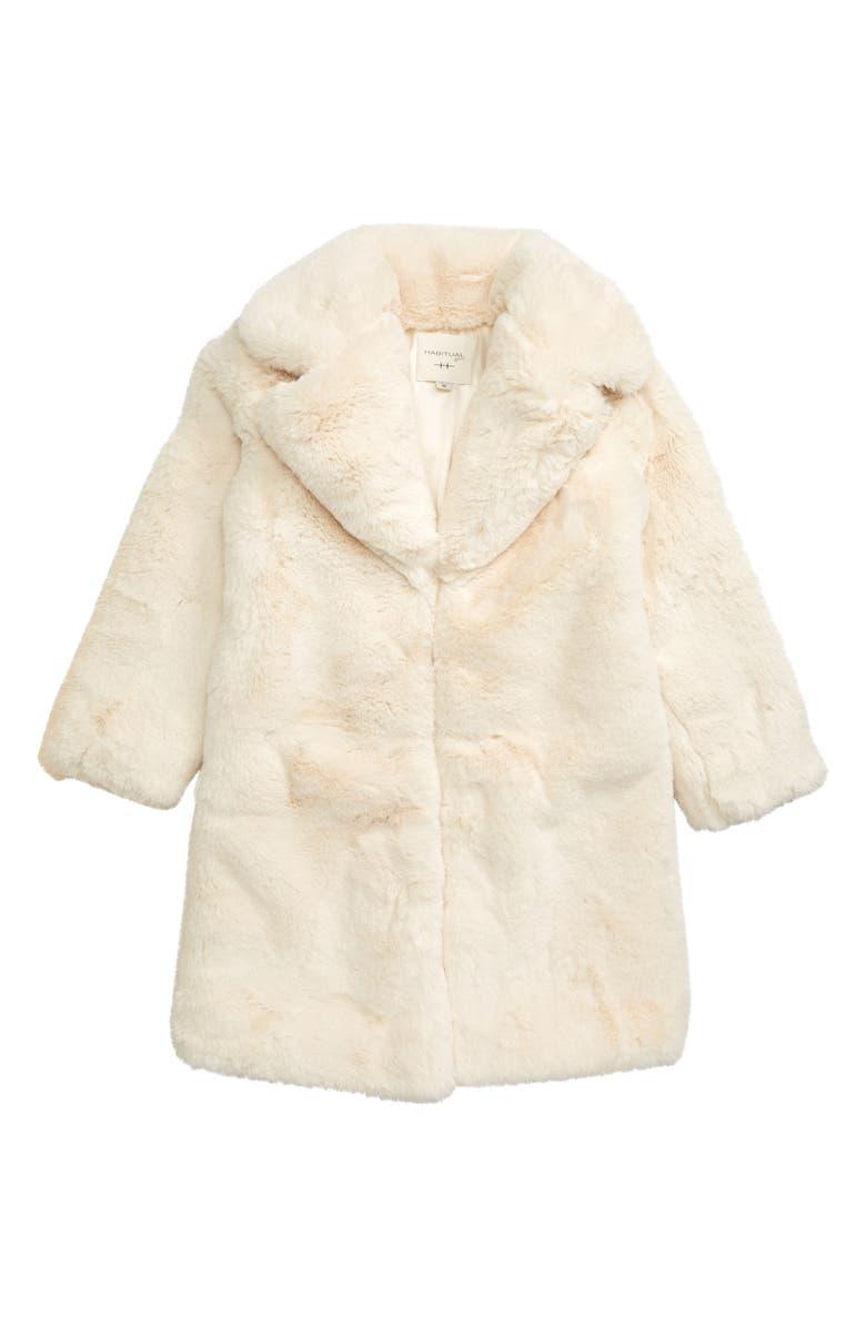 HABITUAL Devyn Faux Fur Coat, Main, color, OFF-WHITE