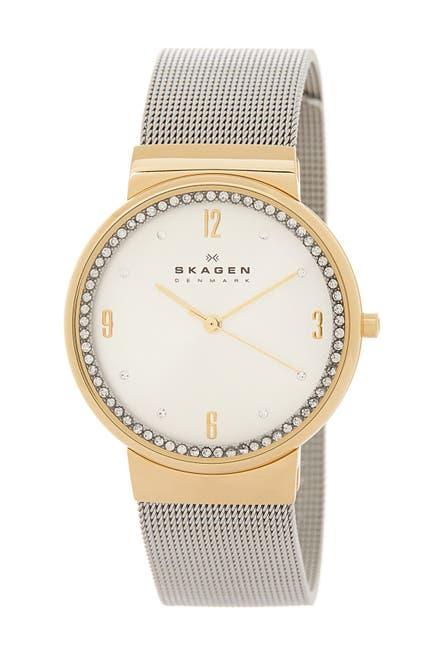 Image of Skagen Crystal Bezel Mesh Strap Watch, 34mm