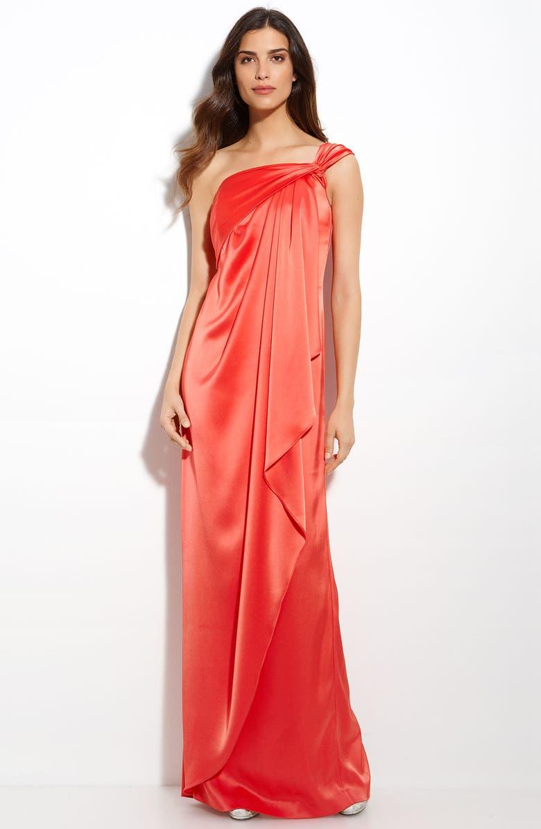 ST. JOHN COLLECTION Liquid Satin One Shoulder Gown, Main, color, 600
