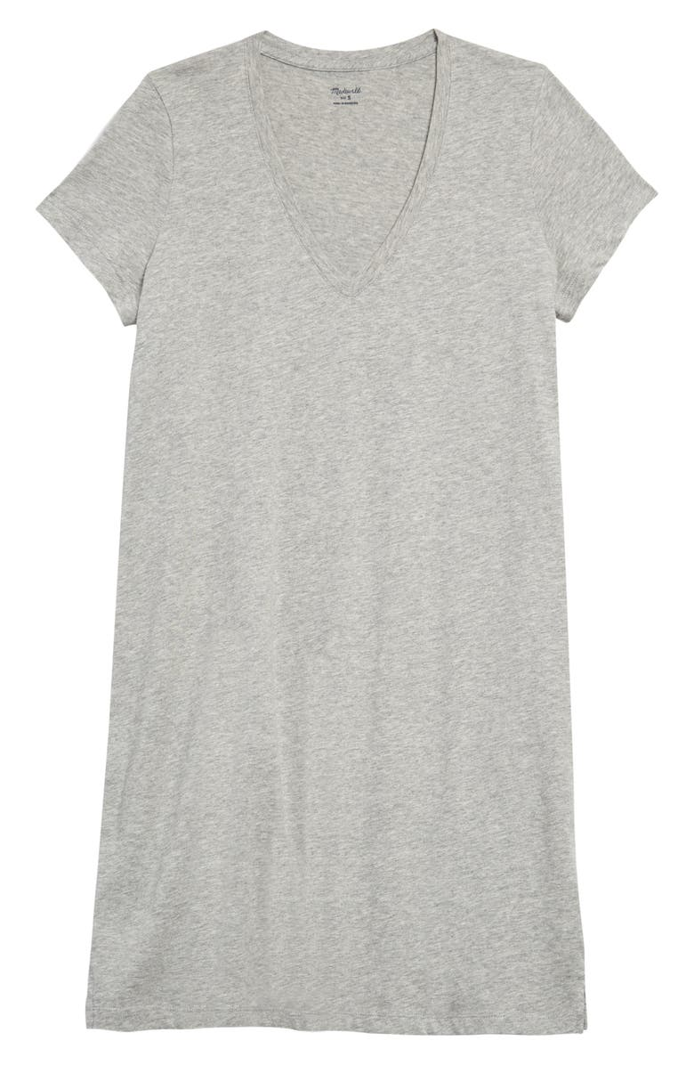 MADEWELL Northside V-Neck T-Shirt Dress, Main, color, LIGHT HEATHER GREY